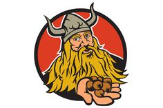 Viking Handing Hazelnut Circle Retro Illustration of a viking warrior raider barbarian handing hazelnut facing front set inside circle on isolated background done in retro style. #illustration #VikingHanding