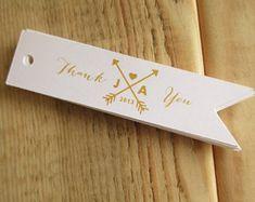Gold Arrow Monogram Wedding Thank You Favor Tags