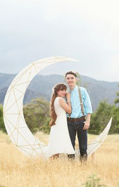 Constellation Geometric Crescent Moon Backdrop with Bench