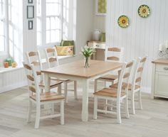 Buy the Somerset 150cm Oak and Cream Dining Table with Chairs at Oak Furniture Superstore