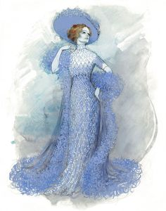 "Dame Joan Sutherland ""The Merry Widow"" costume design sketch (1979)."