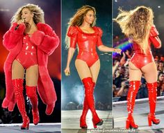 "Looks red bodysuit latex Beyoncé na ""Formation World Tour"" 