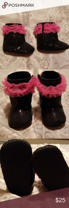 Baby Booties With Matching Headband Black, shimmery baby girl booties with pink ruffles. Complimentary matching headband included. Never worn, brand new. Hobby Lobby Shoes Boots