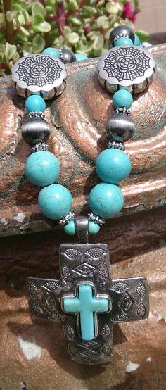 Turquoise Cross Necklace Southwest Necklace by SecretStashBoutique,