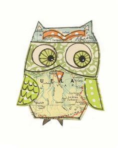 Dora - 5x7 collage owl - LIL ART CARD matted giclee print, owl, collage, Susan Black