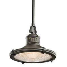 "View the Kichler 42436 Sayre Single Light 10"" Wide Pendant with Fresnel Lens at LightingDirect.com."