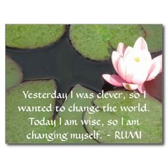 Inspirational RUMI quote about changing yourself Post Cards