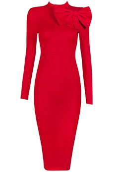 Dream it Wear it - Long Sleeve Bow Detail Midi Bandage Dress Red, 128,32€ (http://www.dreamitwearit.com/bandage-dresses/long-sleeve-bow-detail-midi-bandage-dress-red/)