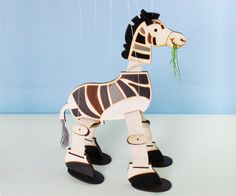 Zebra Marionette Toy Wood HandPainted  Room by karnidesign on Etsy, $36.00 for baby's room