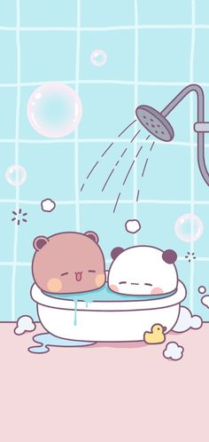 Baby Animals Super Cute, Cute Cat Illustration, Little Panda, Cute Cat Gif, Kawaii Wallpaper, Cute Love Quotes, Bear Art, Line Sticker, Cute Bears