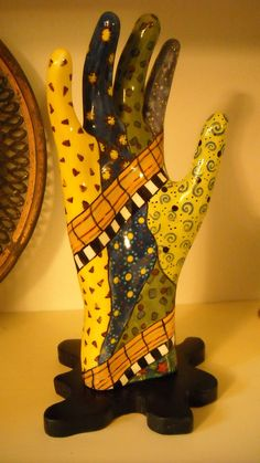 Ceramic hand sculpture handpainted glazed by frugalfibers on Etsy, $25.00