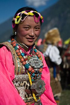 Tibet woman photographed at the Bome Festival. | ©philippe tarbouriech
