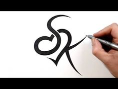 Combining Initials S and K with a Heart Tattoo Design - anfängliches Tattoo Letter K Tattoo, Tattoo Alphabet, Alphabet Tattoo Designs, Name Tattoo Designs, Heart Tattoo Designs, Alphabet Design, Kinderinitialen Tattoos, Finger Tattoos, Love Tattoos