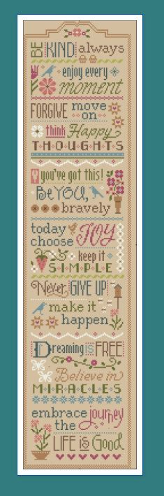 NEW cross stitch patterns : 3 Little Words Today Choose Joy Never Give Up Lizzie Kate friendship love hand embroidery