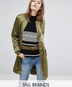 Find the best selection of Vero Moda Tall Satin Longline Bomber Jacket. Shop today with free delivery and returns (Ts&Cs apply) with ASOS! Coats For Women, Clothes For Women, Tall Clothing, Green Bomber Jacket, Satin Jackets, Tall Guys, Tall Women, Long A Line, Indian Outfits