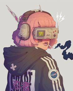 [Space Ninja with a Gameboy inspired VR-Headset. Perfect for supporting the communication of her team on a mission] . Arte Cyberpunk, Cyberpunk Aesthetic, Character Illustration, Illustration Art, Illustrations, Art Sketches, Art Drawings, Cyborg Girl, Gatos Cool