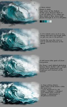 Wave Tutorial by Fievy on DeviantArtSupport me on patreon for mooooore www patreon com fievi aStormy water step by step painting tutorial.ART In G-Datenbots eingeschaltet ,How to Paint Waves with Acrylic Paint Digital Art Tutorial, Digital Painting Tutorials, Art Tutorials, Painting Lessons, Painting & Drawing, Water Drawing, Water Art, Painting Of Water, Painting Grass