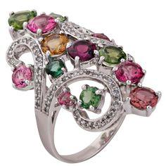 Anel de Ouro Branco 14K com Turmalinas e Diamantes