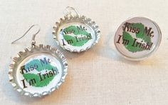 Kiss Me I'm Irish St Patrick's Day Image on Bottle by SweetieBeads