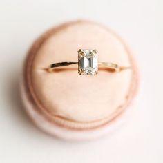 HEAD OVER HEELS Emerald Cut White Diamond Ring | Shop This Is Glamorous #weddingring