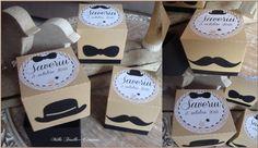 assortiment de boîtes dragées thème moustache chapeau melon et noeud papillon : Autres bébé par millefeuille-creations