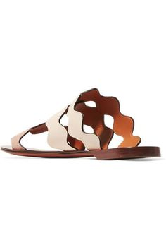 Chloé - Scalloped Leather And Suede Sandals - Neutral - IT39.5