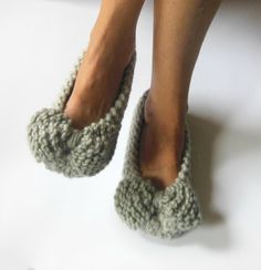 GRAY Hand knit bow woman's slippers Gift for her Home by NENAKNIT