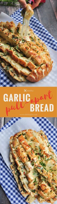 aka Blooming Garlic Cheese Bread - Looks impressive? Its really easy to make. 6 ingredients and 30 minutes are all you need for this cheesy garlic pull-apart bread. Serve it as a side, an appetizer, or a snack. Bring it to a potluck or tailgate party to knock everyone's socks off! via DelishPlan #horsdoeuvres #appetizers #fingerfoods #tapas #partyfood #christmaspartyfood #newyearsevepartyfood #newyearseve #tailgating #superbowl #easyappetizers