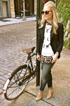 layer with leopard, and with a sweater without words.