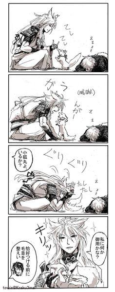 """""""#刀剣乱舞 小狐丸とお付のキツネ もふもふ"""""""