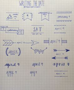 4•9•16 A reference sheet I made for different ways to write the date. This mostly just works for bullet journal stuff.: