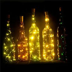 Set of 6 Wine Bottle Lights Battery Powered, LED Cork Shaped Starry String Lights - 15LED 30inch Copper Wire Fairy Lights for Bottle DIY, Party, Decor, Christmas, Wedding, Dancing, Warm White EIISON * Check out this great product.