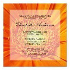 Orange Daisy 80th Birthday Party Personalized Invitations