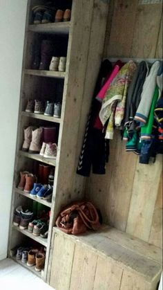 Shoe Shelves, Shoe Storage Entryway Bench, Shoe Storage In Garage, Mud Room In Garage, Hall Storage Ideas, Shoe Cubby Bench, Boot Room Storage, Hallway Coat Storage, Rustic Storage Bench
