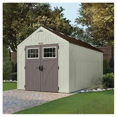 Resin Tremont Storage Shed 8' X1 6' - Vanilla/Gray - Suncast