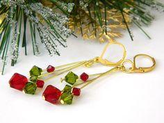 Swarovski Crystal Earrings Christmas by BlondePeachJewelry on Etsy
