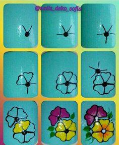 Pin by Chuu Mon on Nail art Cute Nail Art, Nail Art Diy, Easy Nail Art, Diy Nails, Cute Nails, Manicure, Flower Nail Designs, Simple Nail Art Designs, Nail Art Designs Videos