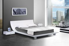 Modern Lacquer Platform Bed furniture in White - $1595 -- Features: Ground bed frame and curved headboard #furniture #bedroom #LAfurniture #LAfurnitureStore #Furnituredesign #HomeDecor #bed #bedroom #bedroomdesign #platformbedroom #platformbed
