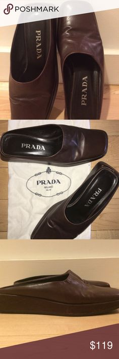 Selling this PRADA MADE IN ITALY- BROWN SLIDES- US SIZE 8 on Poshmark! My username is: vintageny. #shopmycloset #poshmark #fashion #shopping #style #forsale #Prada #Shoes