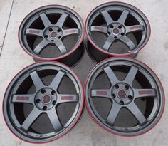 Volk Rims (Pre-owned Rays Racing Seibon Edition 18 inch Wheels) This would go perfectly with a blood maroon Bugeye hatch! Rims For Cars, Rims And Tires, Wheels And Tires, Jdm Wheels, Vossen Wheels, Cooper Tires, Tire Rack, Car Gadgets, Car Mods