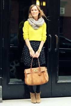 yellow and polka-dot skirt