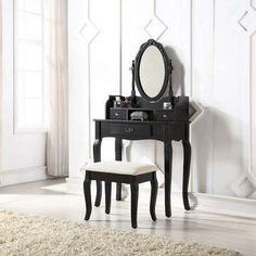 The Lumberton Antique Dressing Table Set is simply beautiful. Pairing a fresh lacquered finish with ornate carvings, it delivers an elegant infusion of country home chic. Dressing Table Antique, Black Dressing Tables, Dressing Table Mirror, Teal Accent Chair, Aesthetic Room Decor, Accent Chairs For Living Room, Dining Table Chairs, Ikea Chairs, Quality Furniture