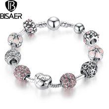 BISAER 925 Corazón Amor Charm Fit Pandora Pulseras para Las Mujeres de BRICOLAJE Cuentas de Cristal 2016 Joyería CALIENTE de La VENTA de Aliexpress(China (Mainland))