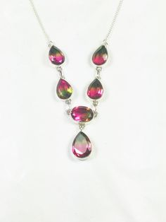 Watermelon Tourmaline Y Necklace Handmade by NorthCoastCottage Jewelry Design & Vintage Treasures on Etsy.com, $289.00