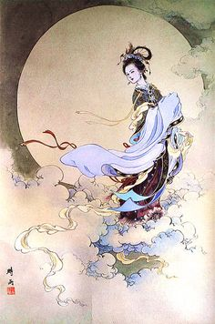 Chang'e from Chinese mythology, who resides on the moon with a pet rabbit who…