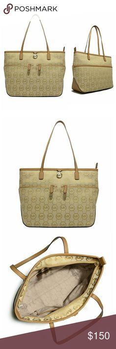 New! MICHAEL KORS Logo Medium Tote Handbag NWT AUTHENTIC MICHAEL KORS Logo Medium Tote Handbag  Handle anything with style when you have this iconic  medium pocket tote from MICHAEL Michael Kors, that features a signature print allover and two zip pockets at front.   MK Signature Logo pattern Goldtone MK logo lock at front Two top handles, 10 inch drop  Zip top closure 2 zip front pockets  Interior: one zip pocket, three open pockets, one cell phone pocket 14.5 inch Width by 9.5 inch Height…