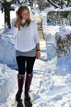 snow day outfit feat. hunter boots // glossy blonde