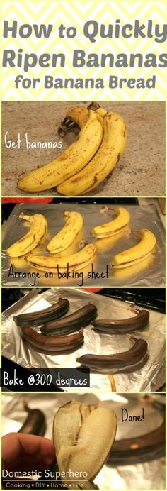 How to Quickly Ripen Bananas for Banana Bread via Domestic Superhero blog // When you don't have over ripe bananas to make banana bread, try this tip. #bananabread #tip