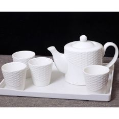 European Embossment White Bone China Tea Set Tea Cups And Teapot Set Of 5 - Intl