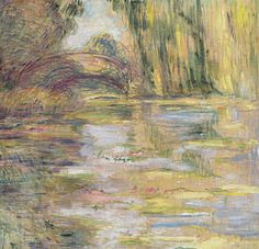 Water Lily Pond: The Bridge by Claude Monet in oil on canvas, done in c. Now in a private collection. Find a fine art print of this Claude Monet painting. Claude Monet, Pierre Auguste Renoir, Monet Paintings, Landscape Paintings, Landscapes, Painting Prints, Art Prints, Mary Cassatt, Lily Pond